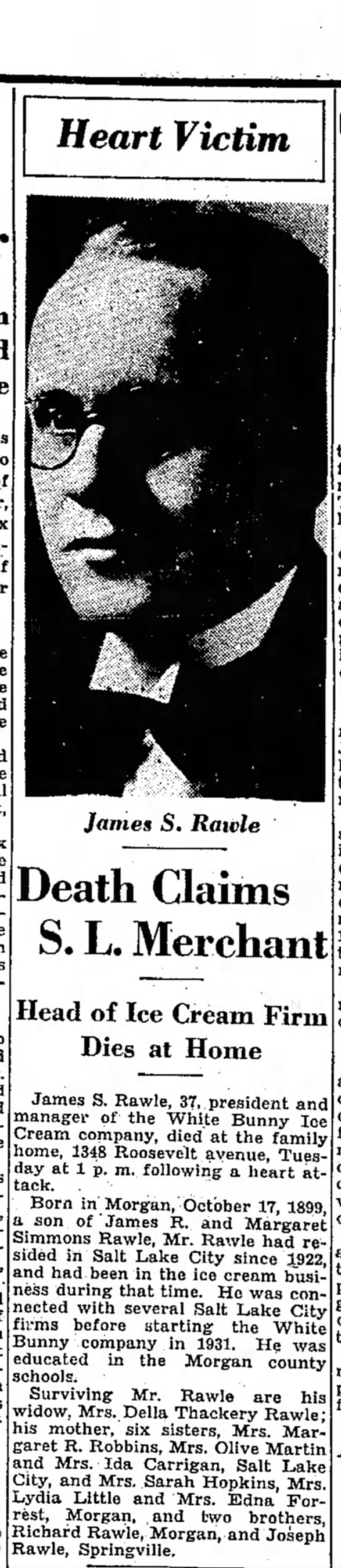 1937 James Simmons Rawle obit, SL Trib 27 Jan p. 11 - Heart Victim James S. Rawle Death Claims S. L....