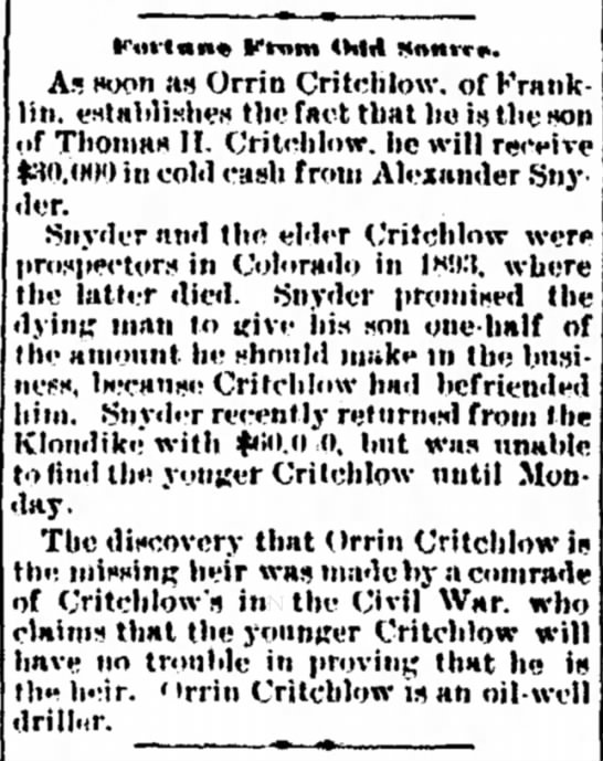 More Research May be Thomas Holt Critchlow his son is Orrie Evans Critchlow - fur(«n« Ktnm <M4 Mnnrr*. A.« soon as Orrin...