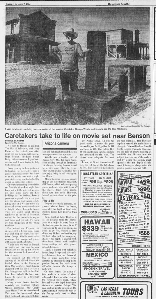 Sky-12 - Nyle Leatham Story about Old Tucson Mescal. 10-7-84 - Sunday, October 7, 1984 The Arizona Republic...