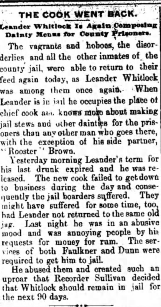 Leander Whitlock again jailed. - THE Leander Whitlock !• Dainty Menu for County...
