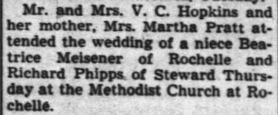 wedding notice - Mr. and Mrs. V. C Hopkins and her mother. Mrs....