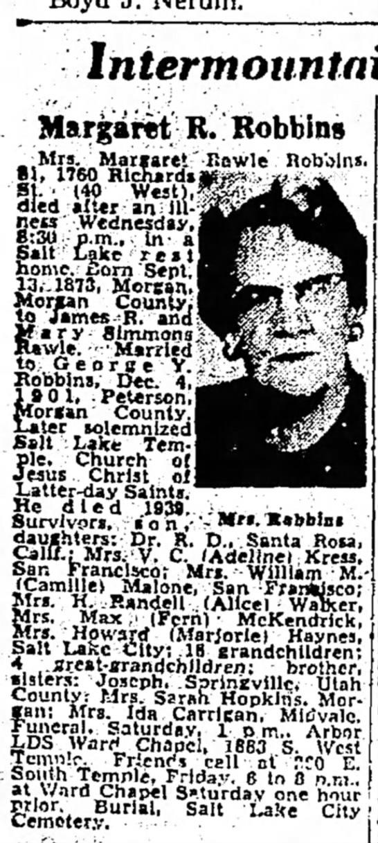 "Margaret ""Maggie"" Rawle Robbins obit  1960"