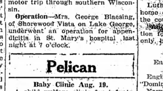 Gramma's Appendectomy - motor trip through southern Wisconsin....