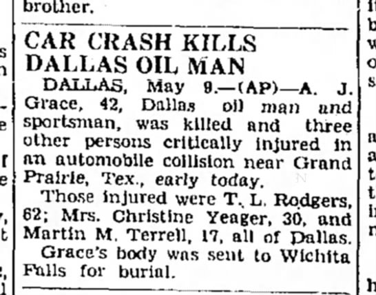 Denton Record-Chronicle (Denton, Texas) 9 May 1946 - brother. CAR CRASH KILLS DALLAS OIL MAN DAIiAo,...