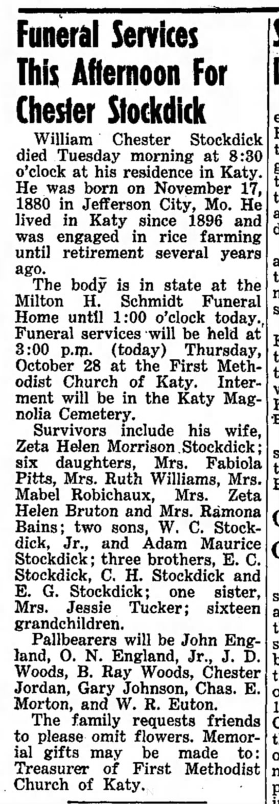 Obit for Chester Stockdick, 28 Oct 1954, The Brookshire Times.