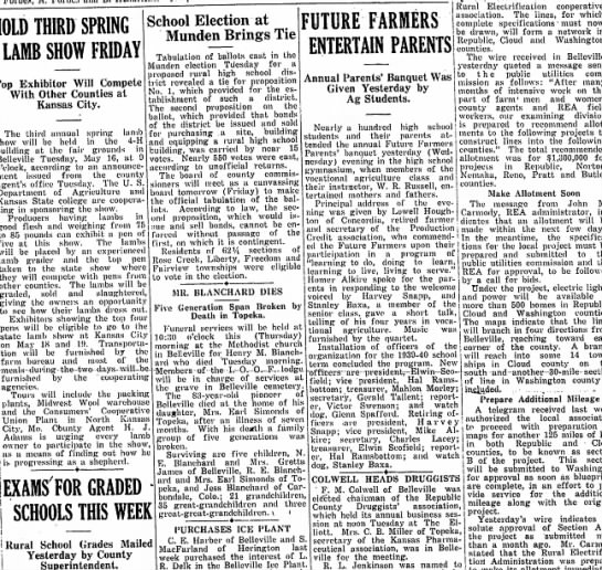 The Bellevile Telescope 11 May 1939 - HOLD THIRD SPRING LAMB SHOW FRIDAY Exhibitor...
