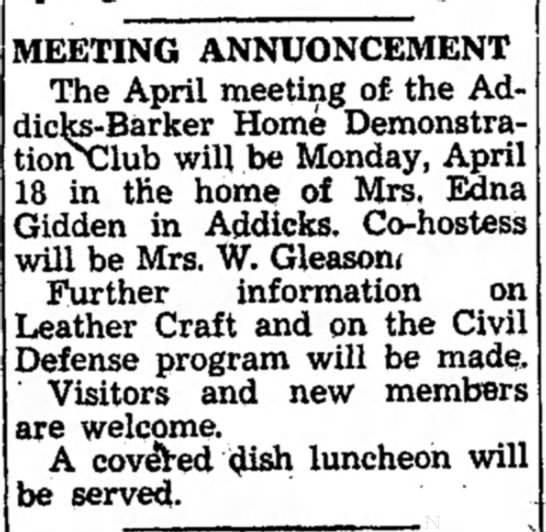 April 1955 Edna Giddens host party - MEETING ANNUONCEMENT The April meeting of- the...