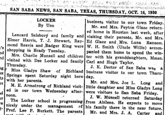 - 8ANSABA NEWS, SAN SABA. TEXAS, THURSDAY. OCT....