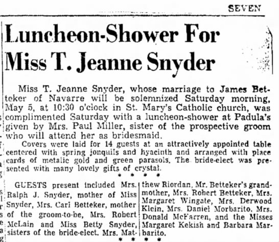 Jeanne's shower - SEVEN Luncheon-Shower For Miss T, Jeanne Snyder...