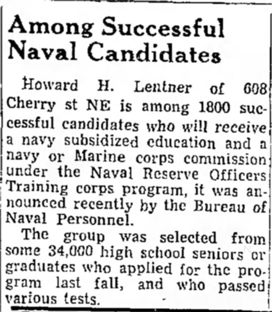 - Among Successful Naval Candidates Howard H....