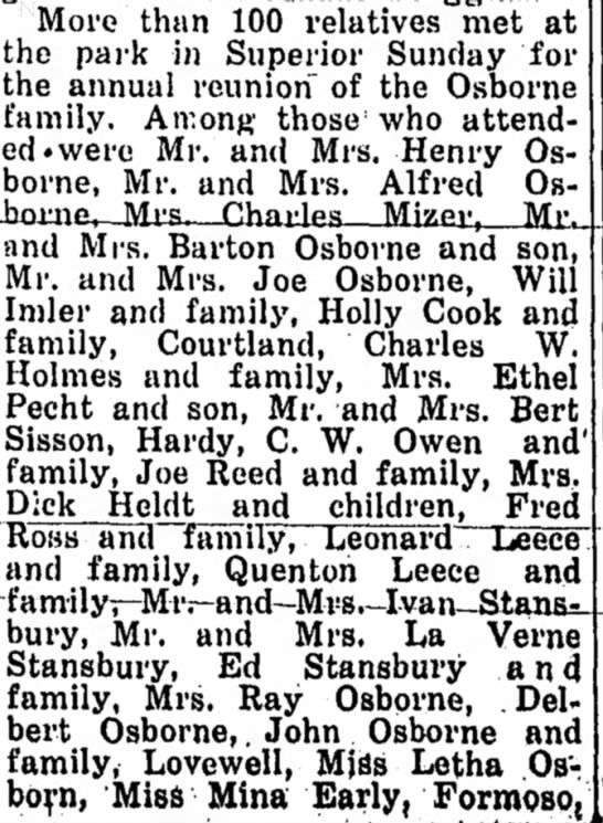 Osborne family reunion 1939 part 1 - More than 100 relatives met at the park in...