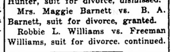 1931-10-29 Burr-Maggie divorce granted - Mrs. Maggie Barnett vs. B. A. Barnett, suit for...