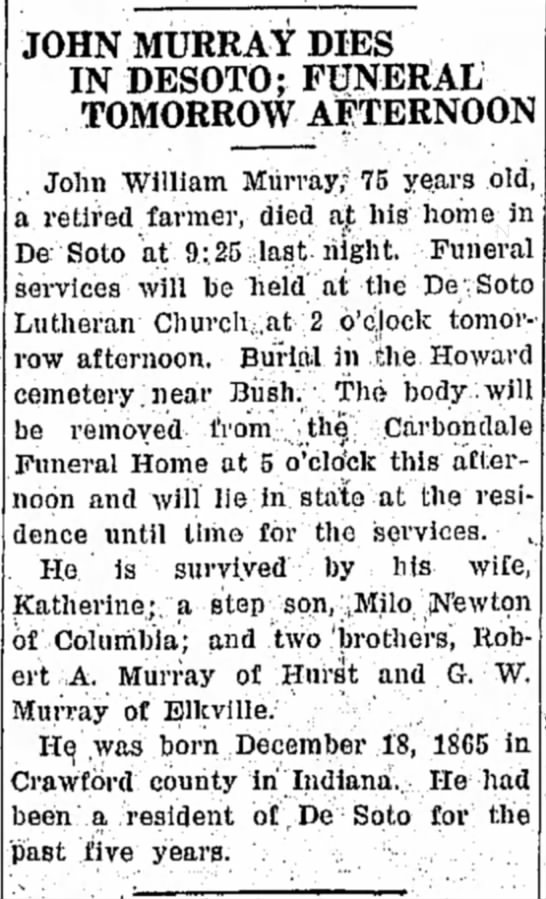 John Murray Obituary 30 Mar 1940 - JOHN MURRAY DIES IN DESOTO; FUNERAL TOMORROW...