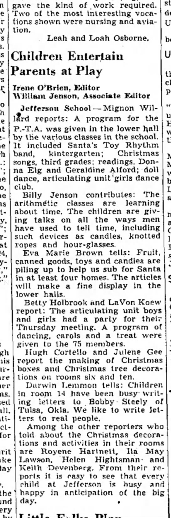Dec 16, 1939 - Salt Lake Tribune - Saturday - fo th gave the kind of .work required. Two of...