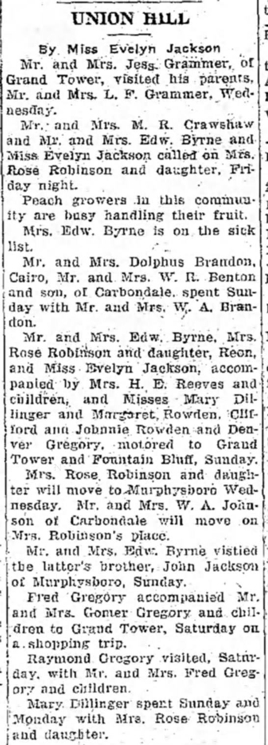 Union Hill News con't - UNION HILL By Miss Evelyli Jackson Mr. and...