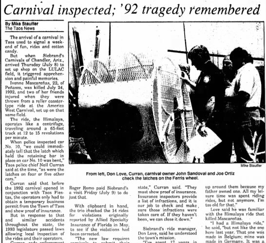 The Taos (Taos, New Mexico) 15 July 1993 - «• • •Carnival •Carnival inspected; '92 tragedy...