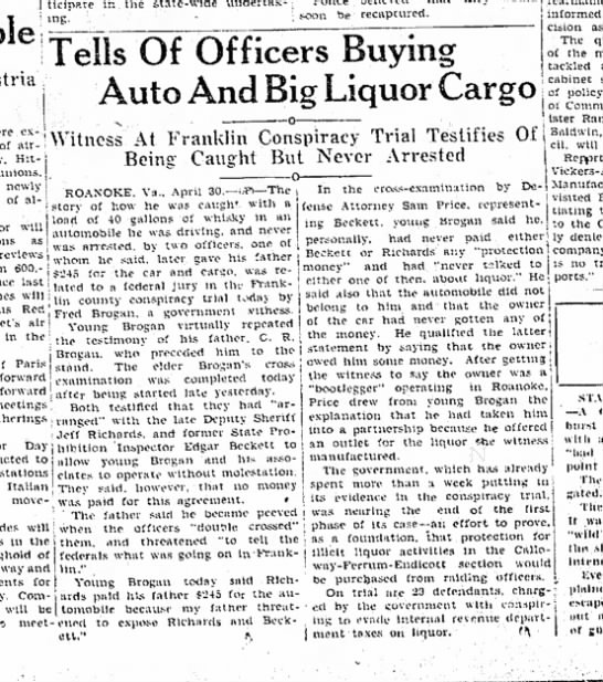 C R Brogan and Son on trial for bootlegging 30 Apr 1935 - ing. 1 soon be recaptured. Of Officers Buying...