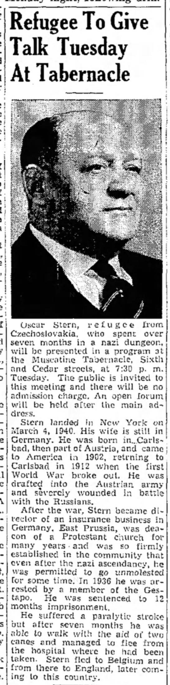 The Muscatine (IA) News-Tribune, 07 Apr 1945, page 8 column 2 - i £; j \s ':,f: ; Refugee To Give Talk Tuesday...