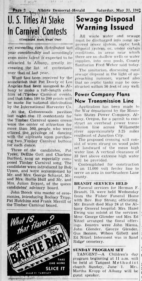 31 May 1947 Timber Carnival Queen Contestants page two - ,rfet Albany nrmnrral - i U. S Titles At Stake...