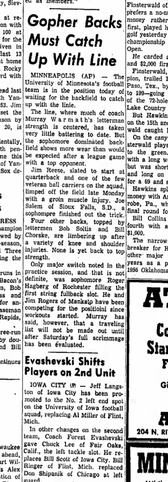 9 Sept 1958 - Sievers at retaining with 100 at for the in...