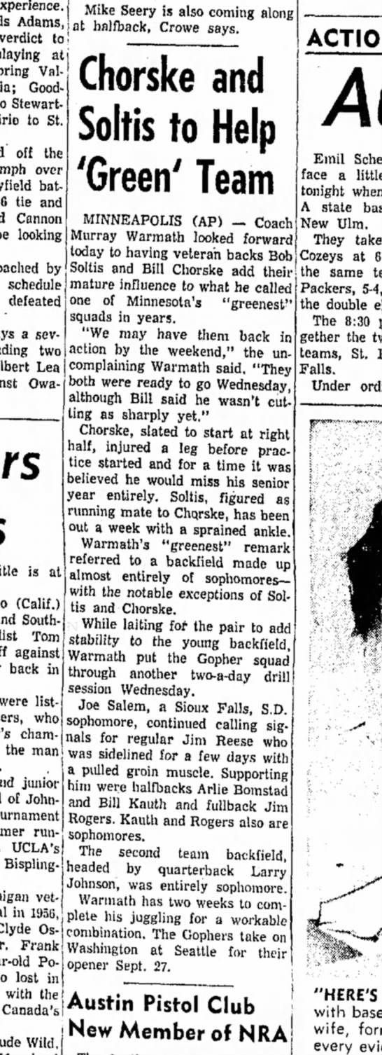 11 Sept 1958 - Adams, verdict to playing at Valley Goodhue...
