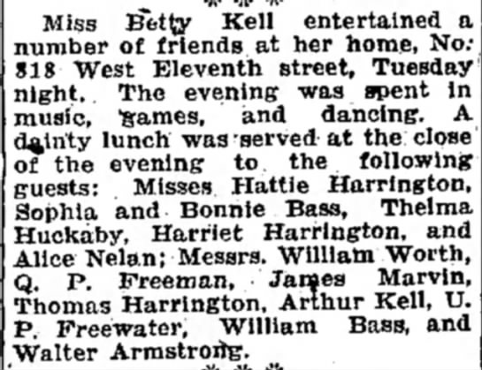 Thelma Huckaby - Miss Betty Kell entertained a number of friends...