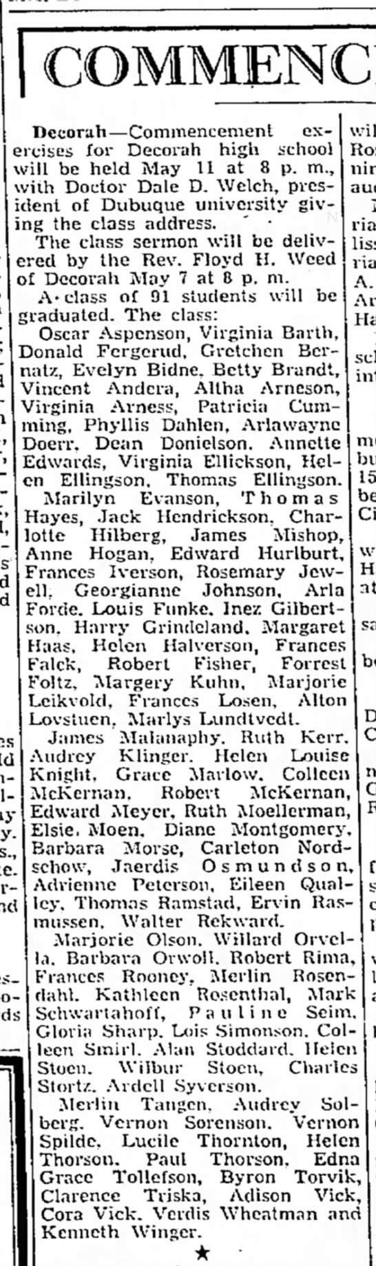 1944 Diane Graduation Mason City Globe Gazette 4.29.1944 - Becorah—Commencement exercises exercises for...
