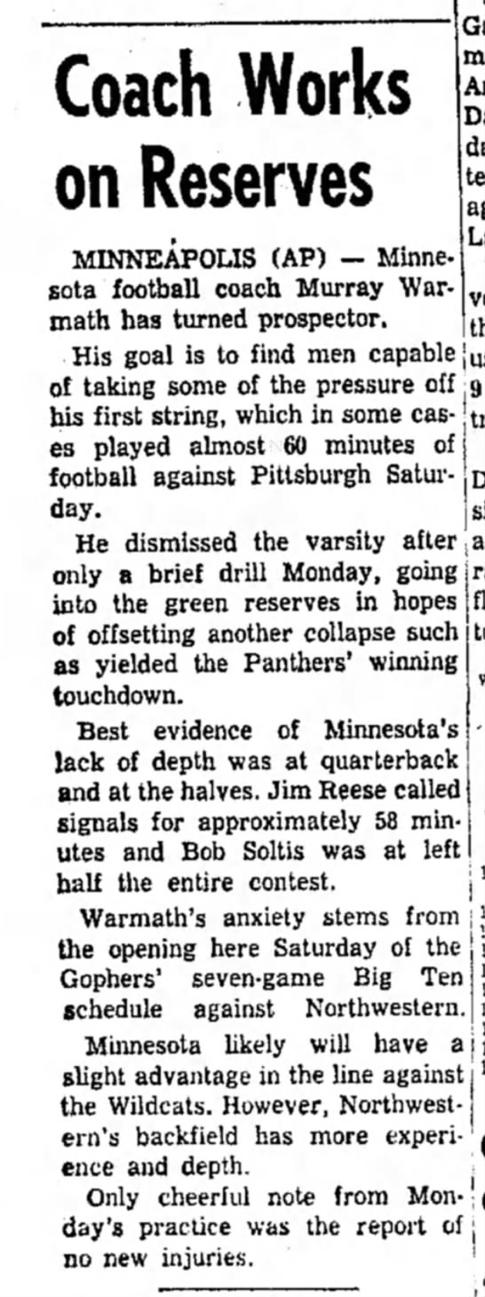 7 Oct 1958 - Coach Works on Reserves MINNEAPOLIS (AP) —...