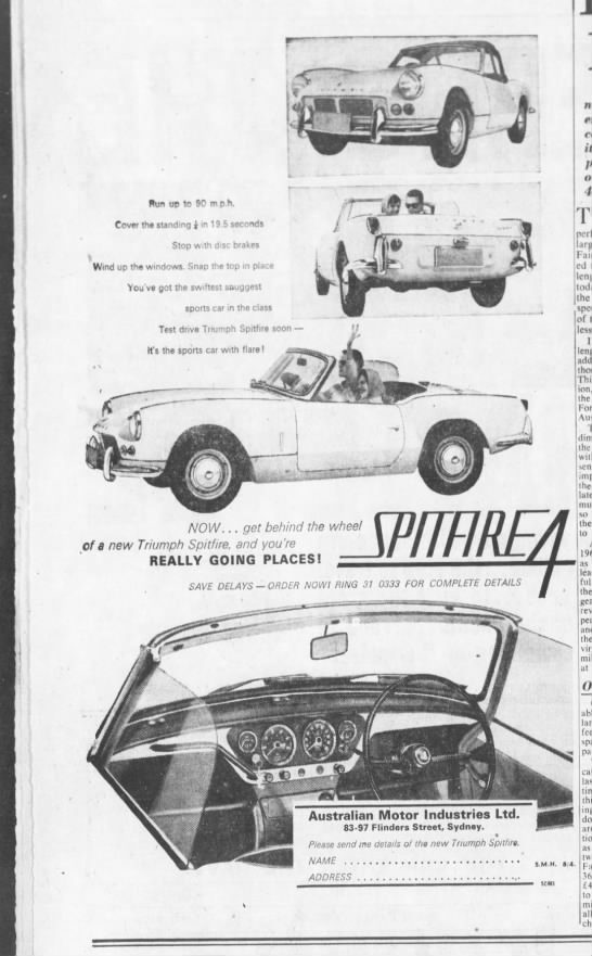 Triumph Spitfire 4 ad - ffun up to 90 m p h. Cover the standing i in 1...