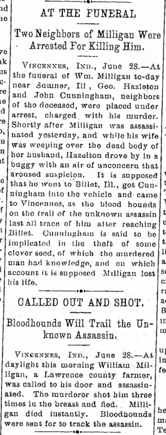 Murder of William Milligan - AT THE FUtfEKAL Two Neighbors of Milligan Were...