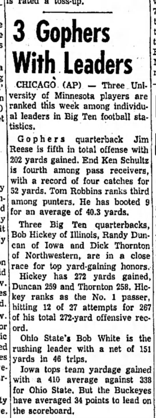 24 Oct 1958 - 3 Gophers With Leaders CHICAGO (AP) - Three...