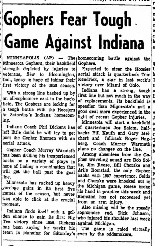 31 Oct 1958 - Gophers Fear Tough Game Against Indiana...