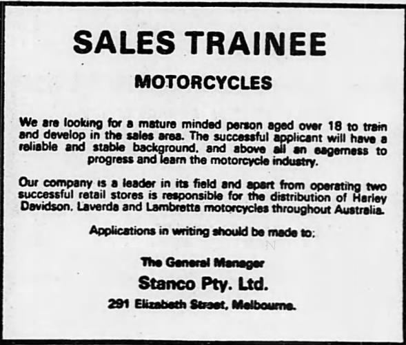 Sales Trainee for Stanco.