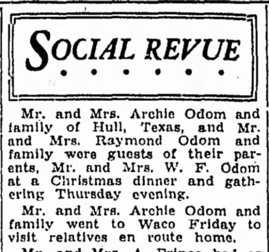 - SOCIAL REVUE Mr. and Mrs. Archie Odom and...