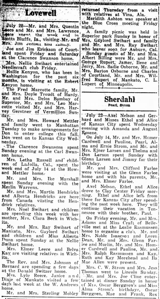Lovewellhappenings July 25, 1946 - . Lovewell wtiirned Thmrsday from a visit with...