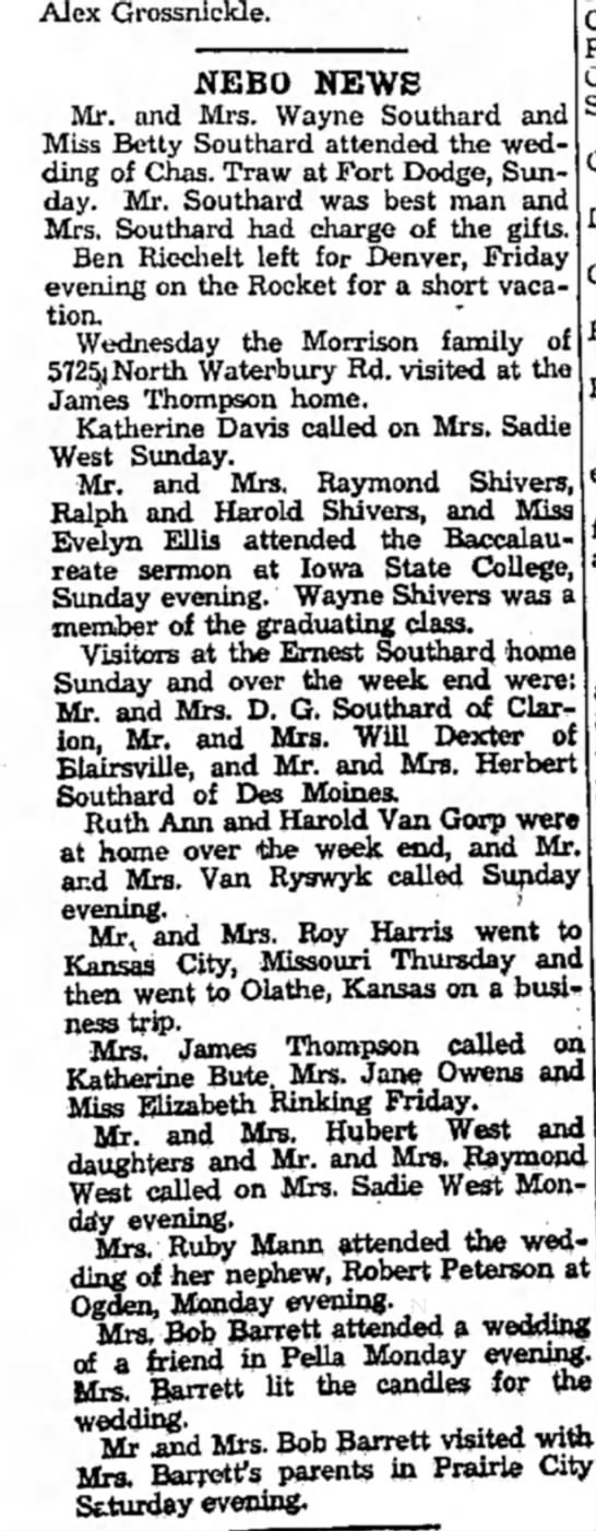 Hubert West and Sadie west June 9 1949 - Alex Grossnickle. NEBO NEWS Mr. and Mrs. Wayne...