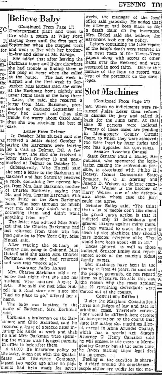 Carol Ann Hutzell Barkman- Cumberland Evening Times- 4 Dec 1947- p. 18, col. 2-3 - EVENING TEVIES, [Believe -Baby *' From Page 17)...