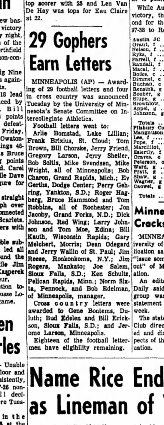 26 Nov 1958 - basketball victory night, of the non-conference...