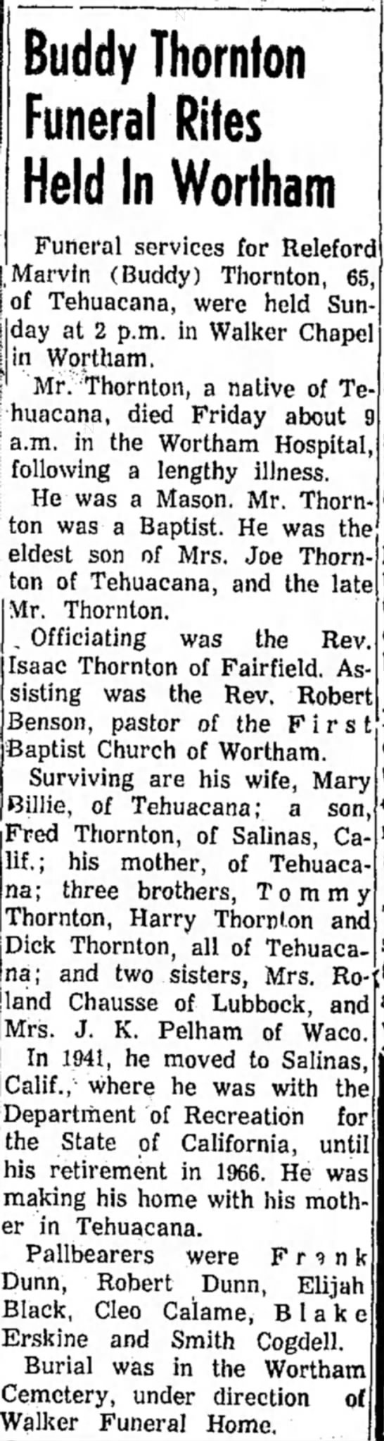 Buddy Thornton Funeral; brother to Tom, Dick and Harry Thornton - Buddy Thornton Funeral Rites Held In Wortham...