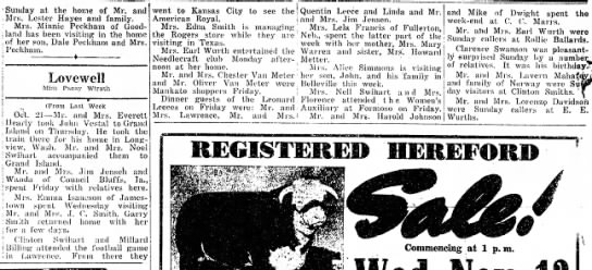 Lovewell happenings October 31, 1946 - 'Sunday at the home of Mr. and Mrs. Lester...