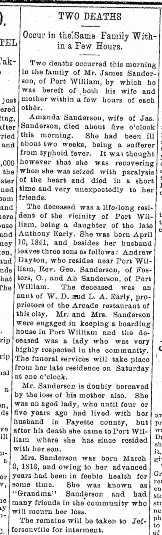 Sanderson death, Port William, OH - • Taking TWO DEATHS Occur in tJielSarne Family...