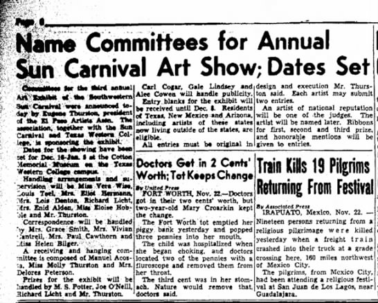 - Name Committees for Annual Sun Carnival Art...