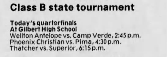 - Class B state tournament Today's quarterfinals...