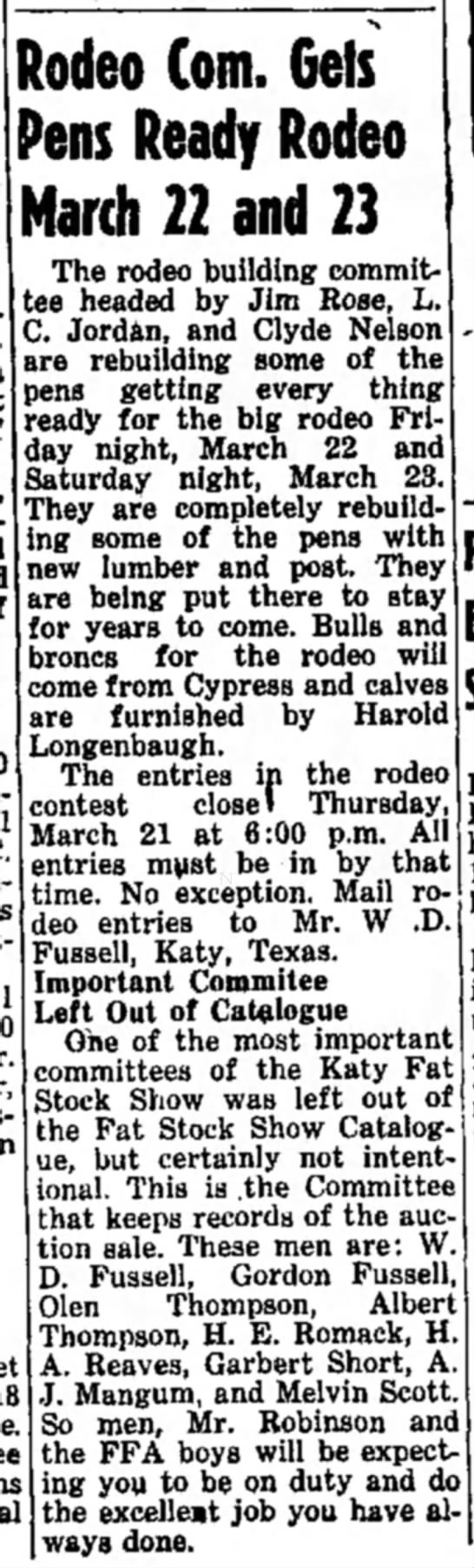 - Rodeo Com. Gets Pens Ready Rodeo March 22 and...