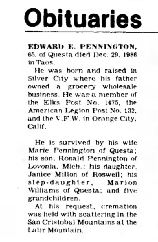 Edward E Pennington obituary January 1987