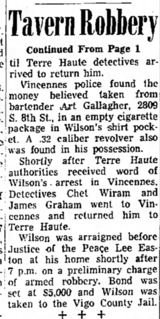 James Graham - at Tavern Robbery Continued From Page 1 til...