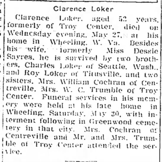 Clarence Loker Funeral