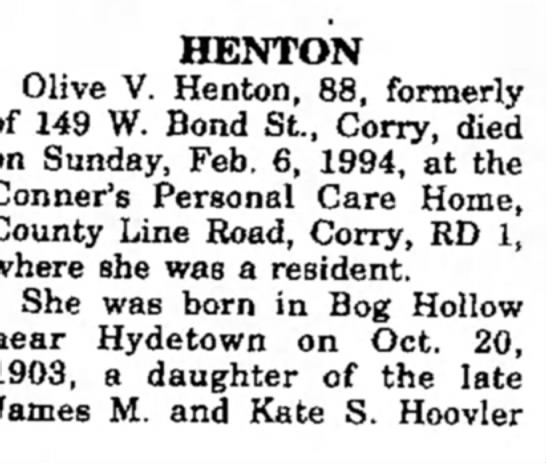 - HENTON Olive V. Henton, 88, formerly 149 W....