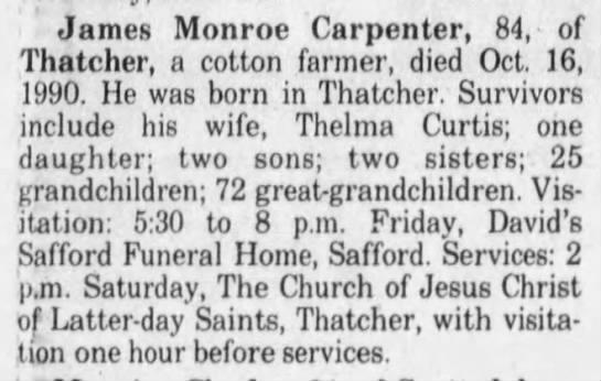 obituary - James Monroe Carpenter, 84, of Thatcher, a...