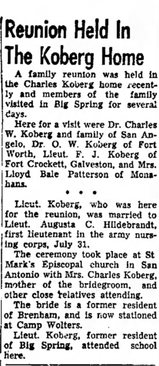 Hildy and Fred Koberg church wedding in Big Spring - Reunion Held In The Koberg Home A family...